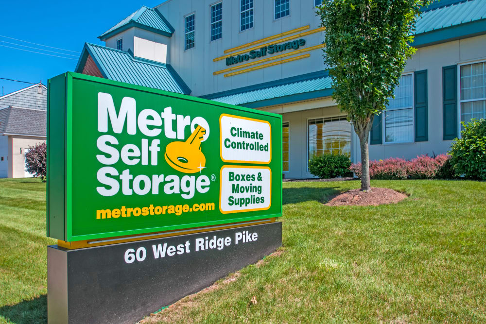 Entrance monument sign at Metro Self Storage in Limerick, Pennsylvania