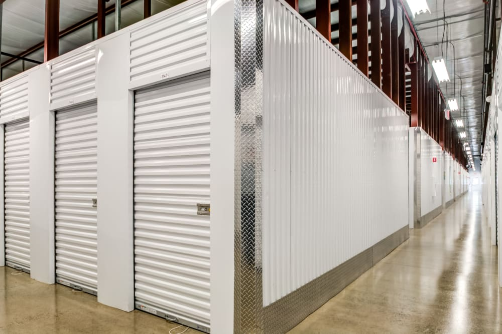 Indoor hallway access to storage units at Metro Self Storage in Mount Laurel