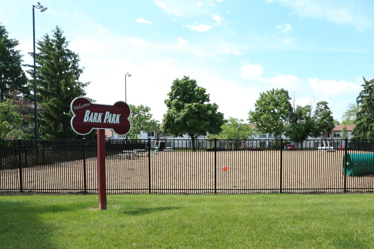 The onsite dog park at Fox and Hounds Apartments in Columbus, Ohio