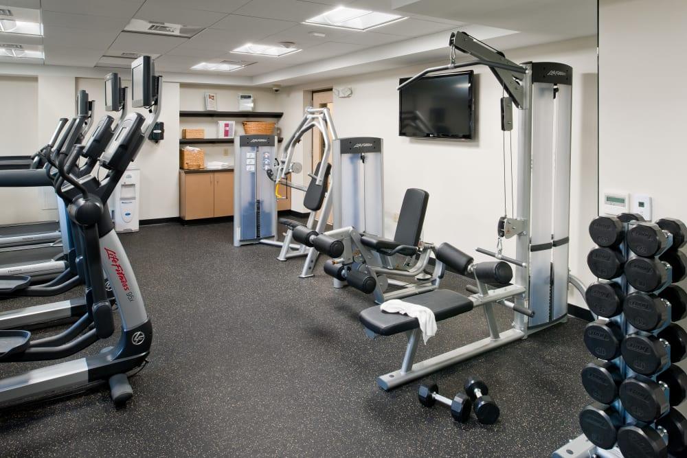 Fitness center at Camelot Court in Brighton, Massachusetts