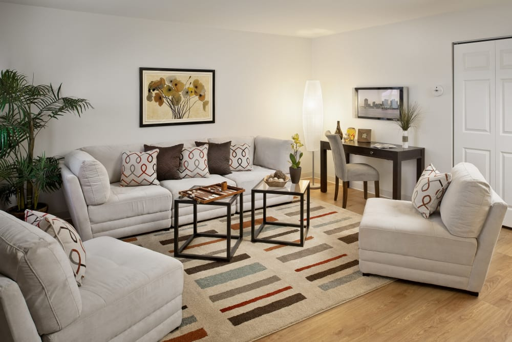 Beautiful model living room at Brandywyne Village in East Boston, Massachusetts