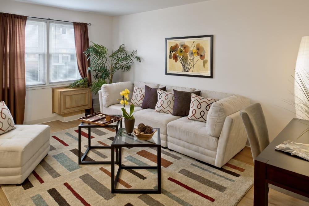 Spacious living room at Brandywyne Village in East Boston, Massachusetts