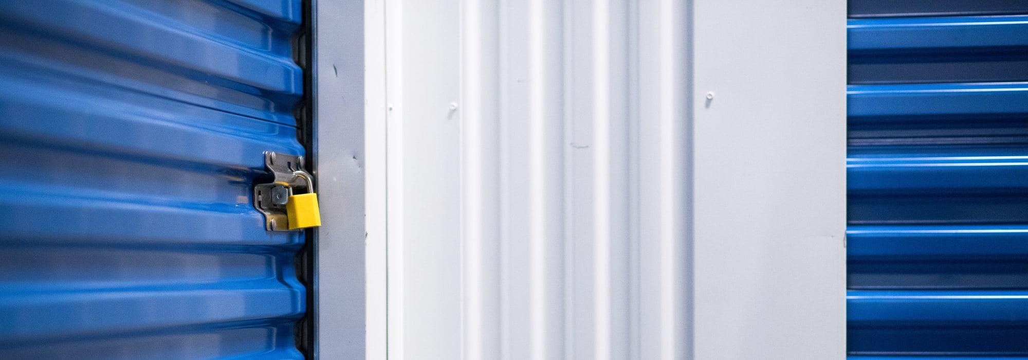 Lock on storage unit door at Apple Self Storage - Mississauga East in Mississauga, Ontario