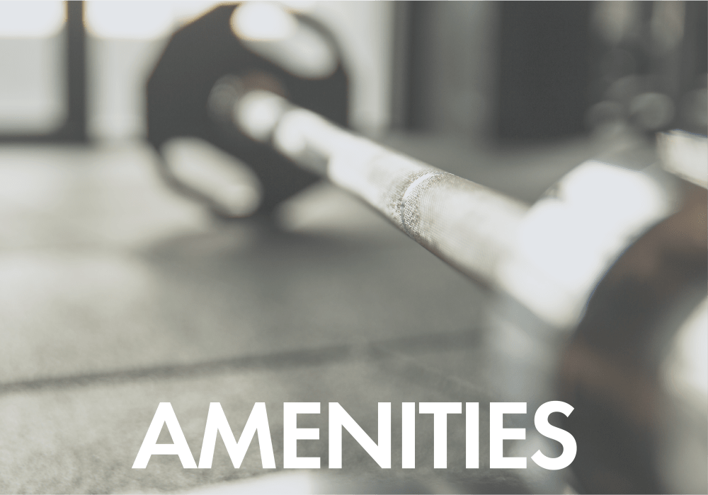 Amenities callout at San Marquis with a well equipped gym, in Tempe, Arizona