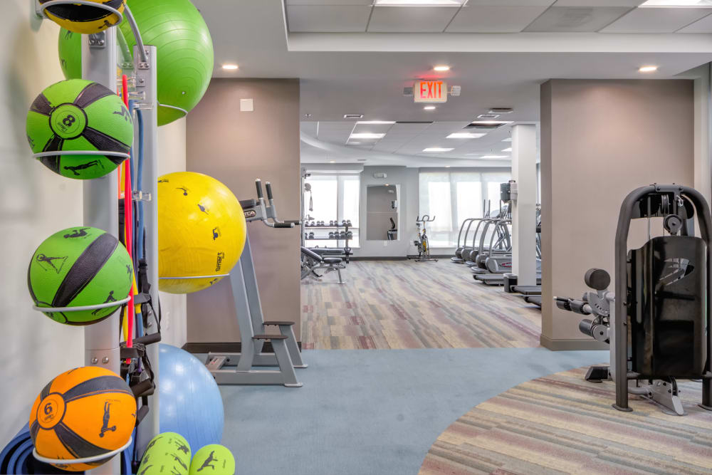 Indoor gym with quality workout equipment at Crossings at Olde Towne