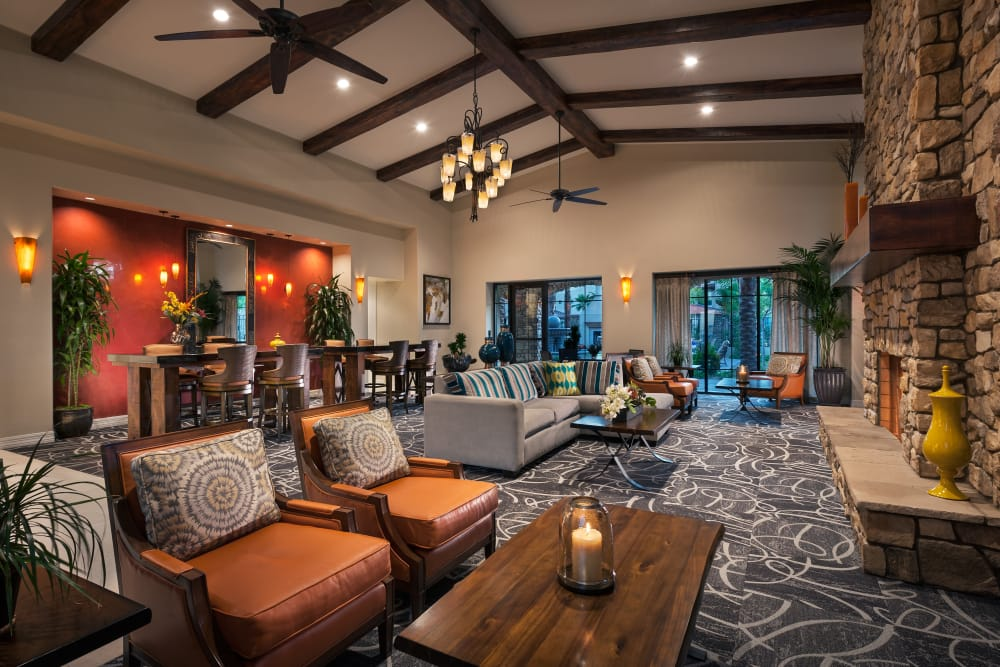 Contemporary decor in resident clubhouse at San Sonoma in Tempe, Arizona