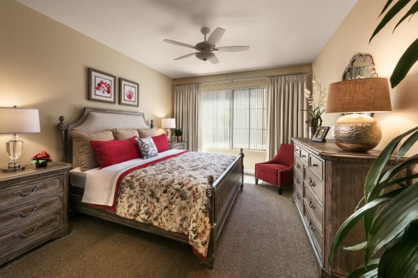 Model bedroom with lamps at San Portales in Scottsdale, Arizona