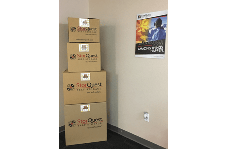 Storage boxes at StorQuest Self Storage in Tampa, FL