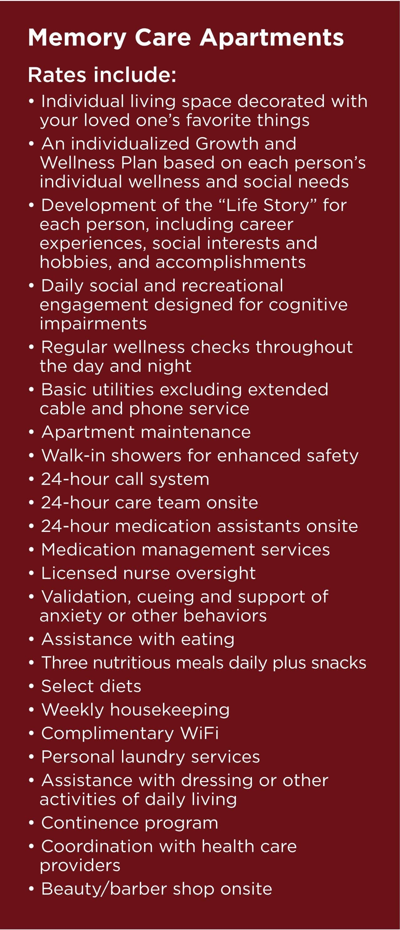 Rates at Wildwood Canyon Villa Assisted Living and Memory Care