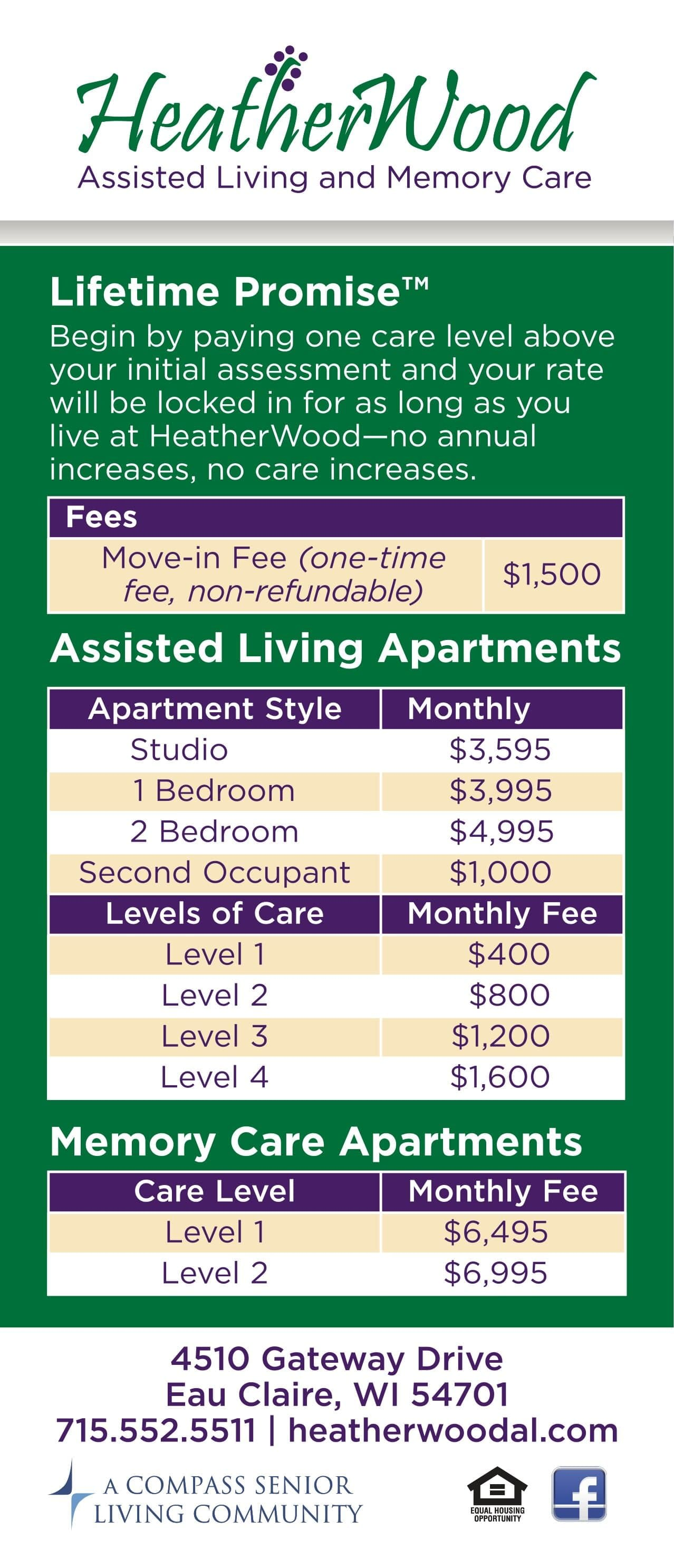 Rates at HeatherWood Assisted Living & Memory Care