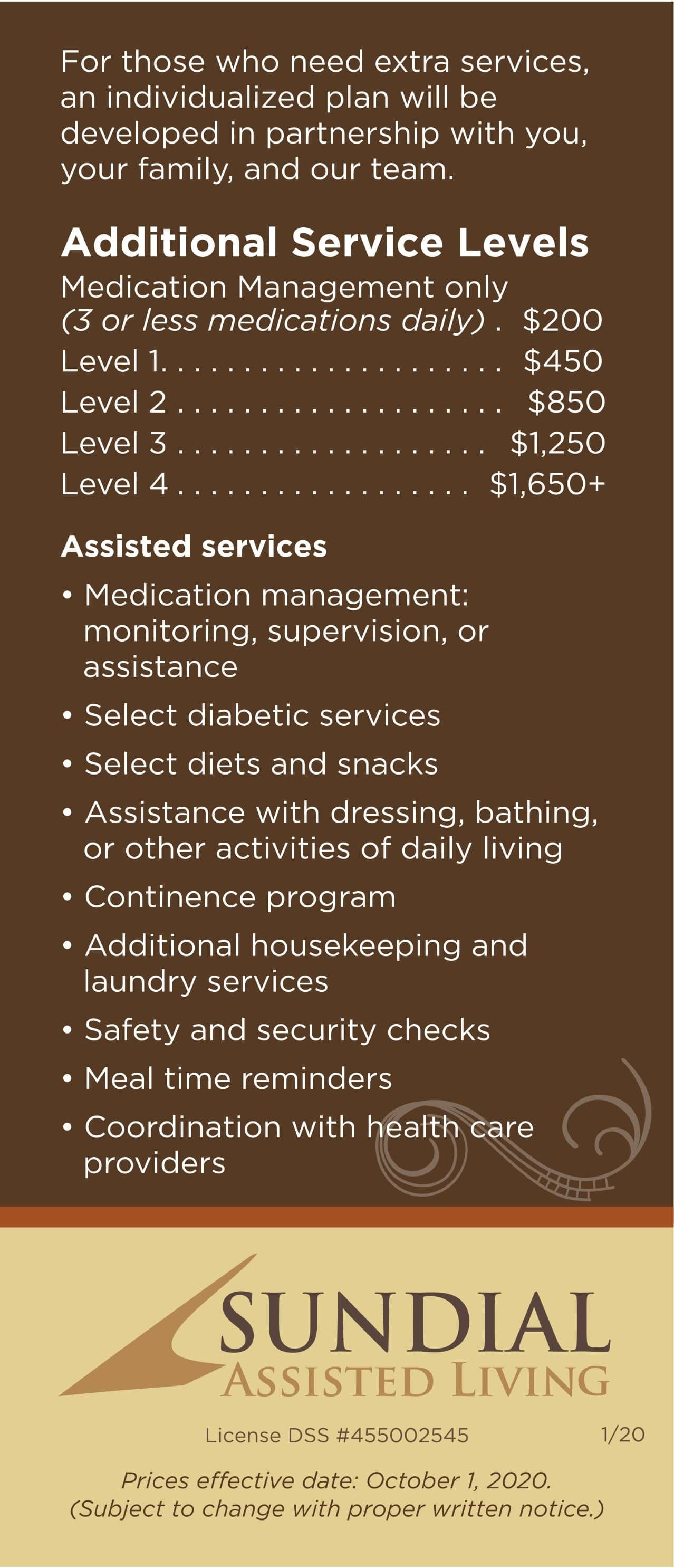 Rates at Sundial Assisted Living