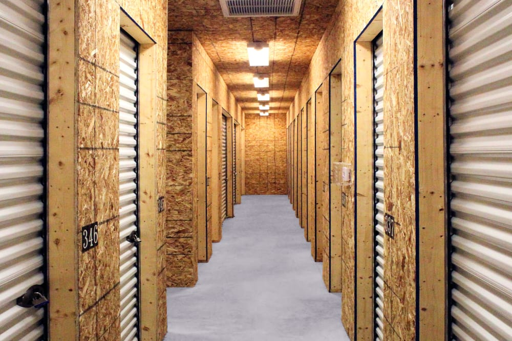 Indoor storage units at Prime Storage in Arundel, Maine