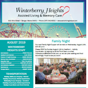 August Winterberry Heights Assisted Living newsletter