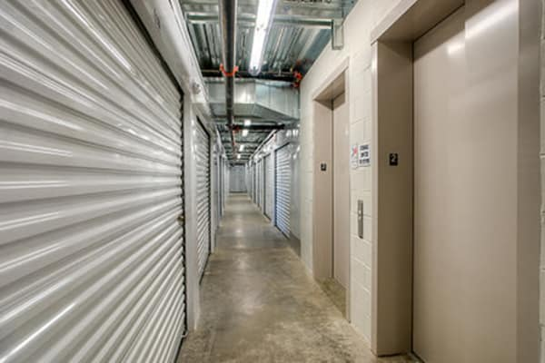 Hallway of units at StorQuest Self Storage in Paramount, California