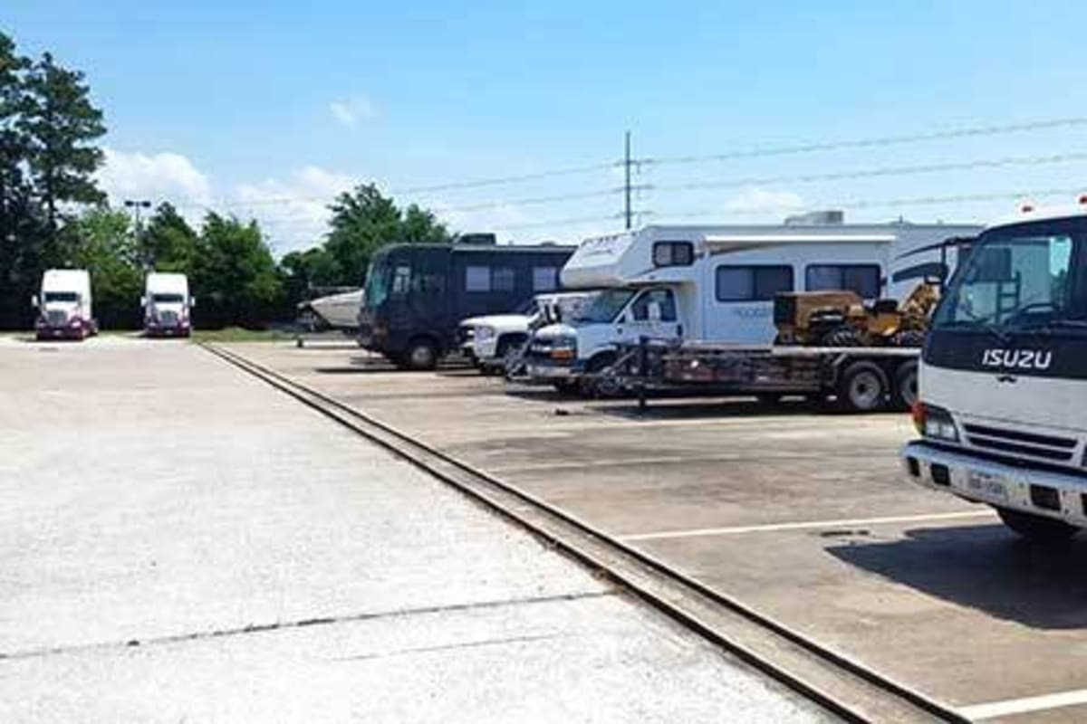 RV, boat, and auto parking spaces at Storage Star Tomball in Tomball, Texas