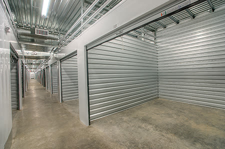 Wide hallways at StorQuest Self Storage in Tigard, Oregon