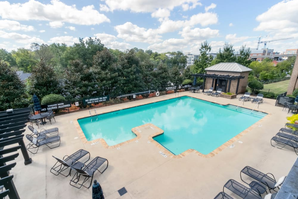 Sparkling pool and deck at McBee Station in Greenville, South Carolina
