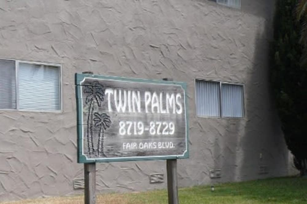 Sign at Twin Palms in Carmichael, California