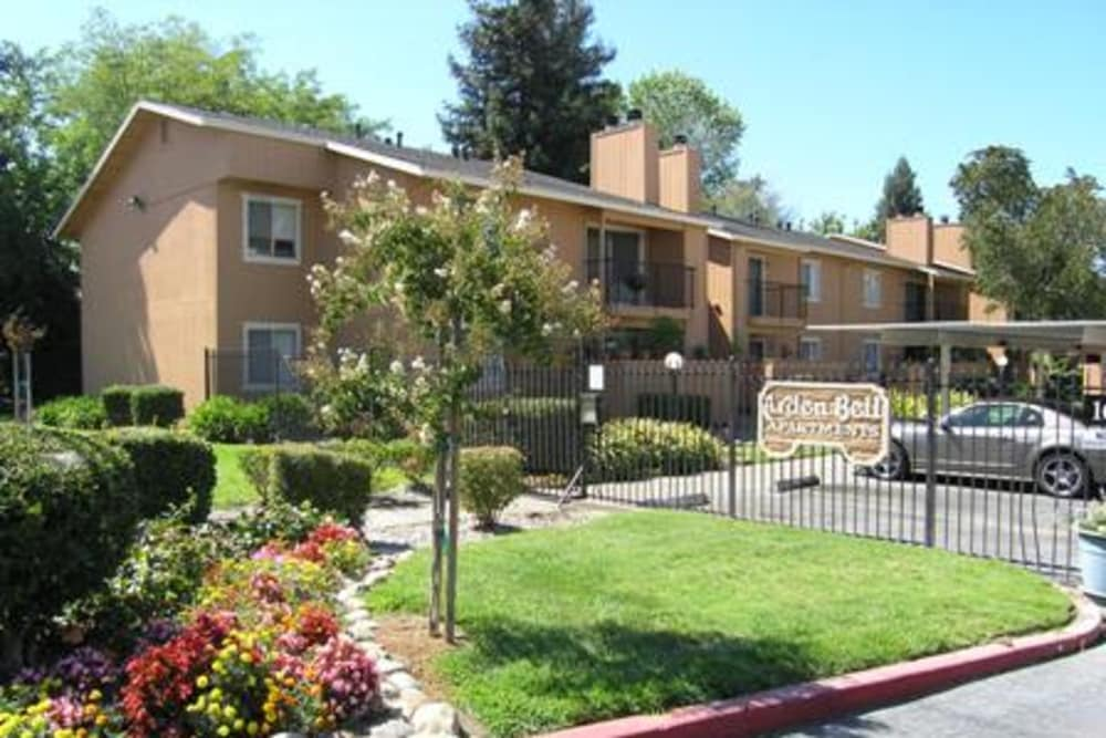 Exterior of apartments at Arden Bell Apartments in Sacramento, California