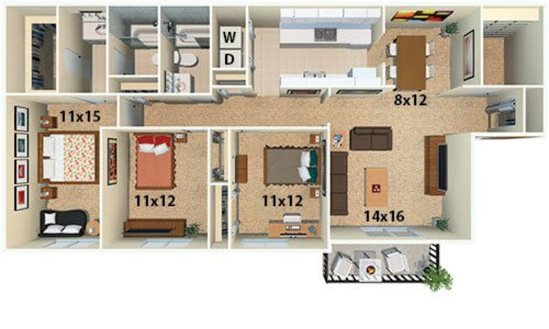 The Emerald floor plan at Post Ridge Apartments in Nashville, Tennessee.