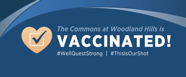 The Commons at Woodland Hills vaccinated community badge