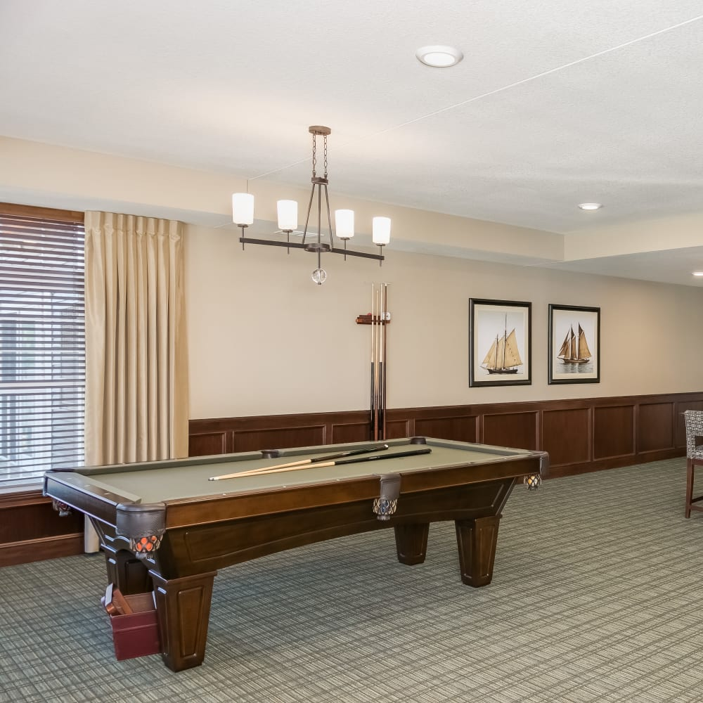 Game room at Applewood Pointe Roseville at Central Park in Roseville, Minnesota.