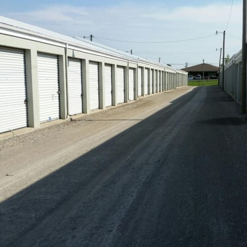 Outdoor storage units at Red Dot Storage in Springfield, Tennessee