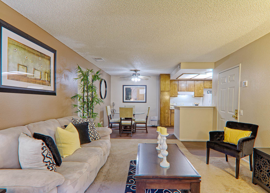 Spacious, light-filled floor plan in model home at Cordova Park Apartment Homes in Lancaster, CA
