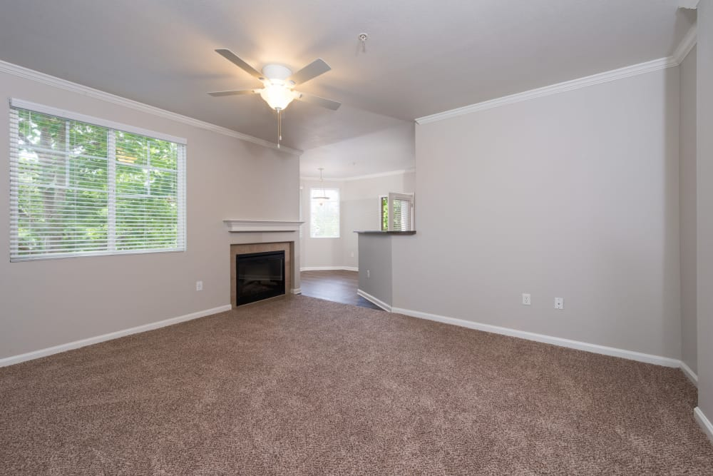 Plush carpeting in spacious floor plan at The Artisan Apartment Homes in Sacramento, California