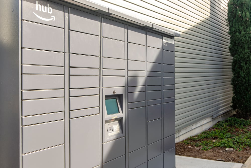 The community package lockers at The Addison Apartments in Vancouver, Washington