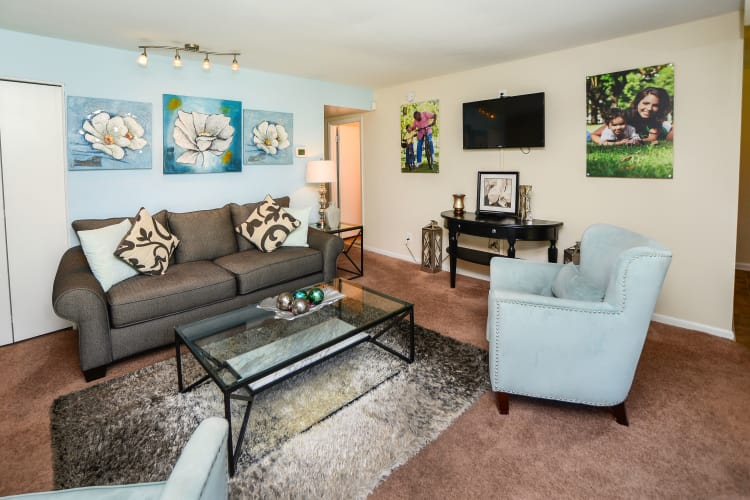 Cedar Creek Apartment Homes offers a spacious living room in Glen Burnie, MD
