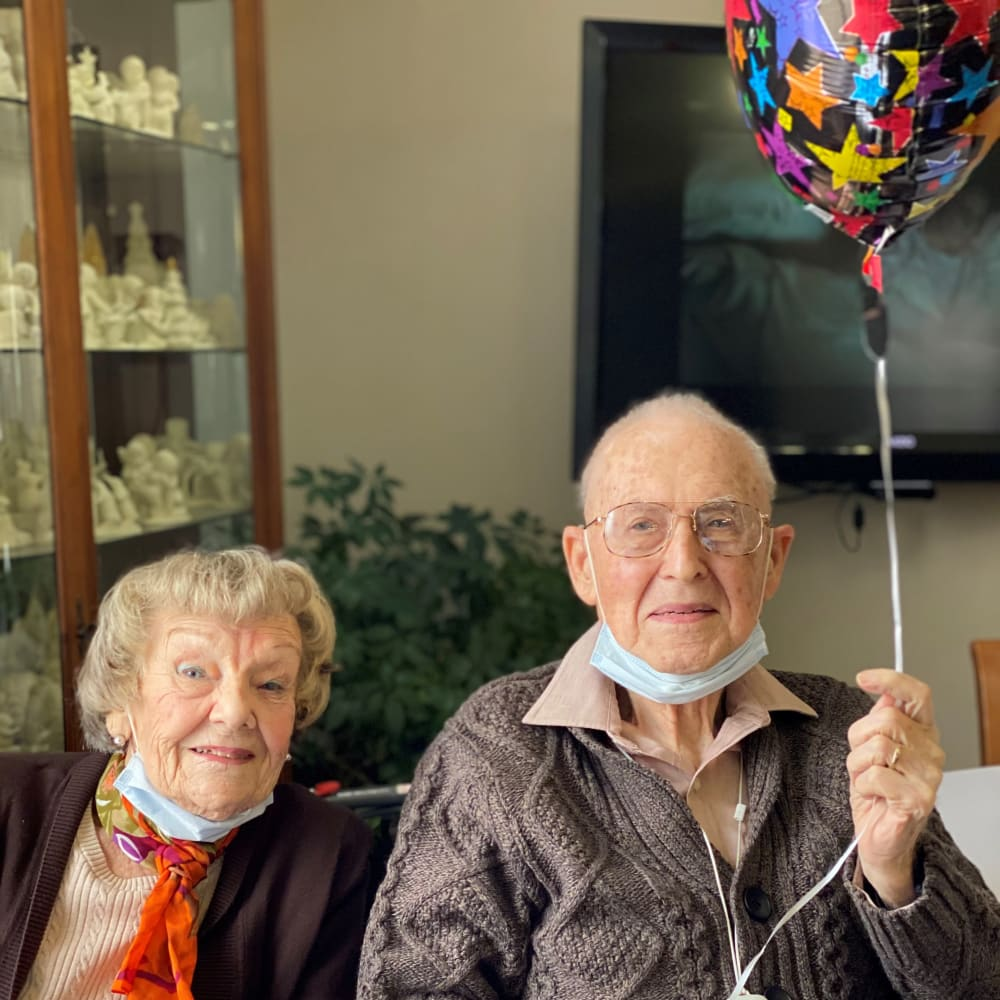 Two Residents during a birthday at Glenwood Place in Marshalltown, Iowa.