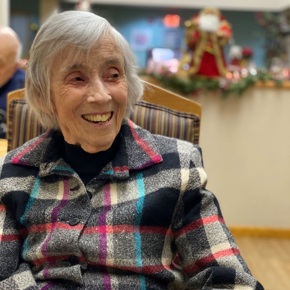 Resident smiling at Glenwood Place in Marshalltown, Iowa.