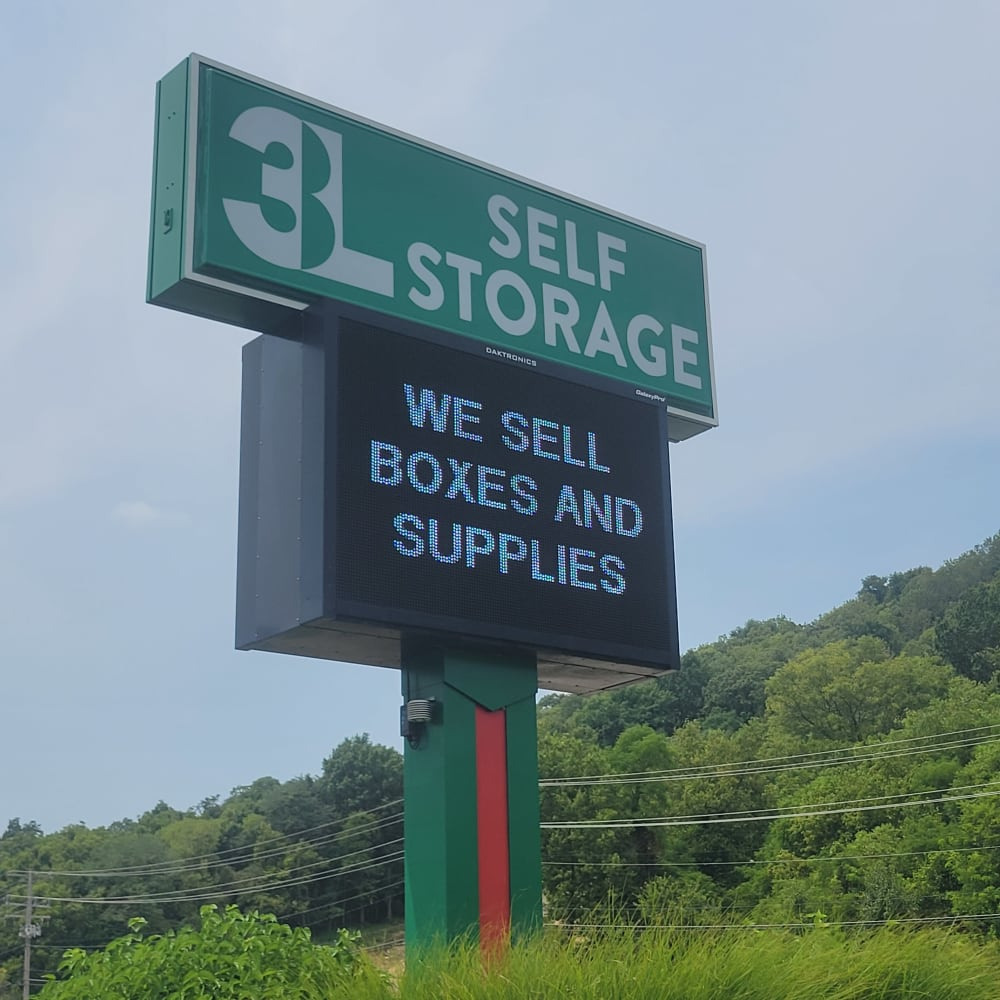The front sign at 3L Self Storage in Fort Wright, Kentucky