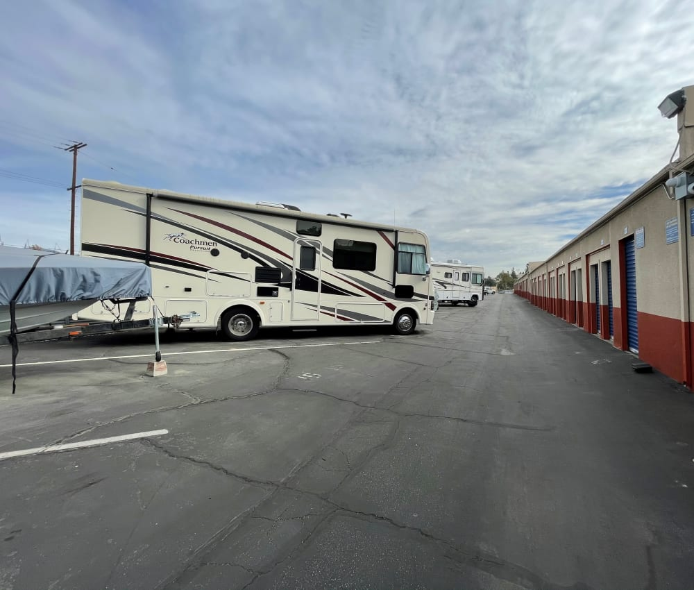 RV and boat storage at Storage Solutions in Pomona, California