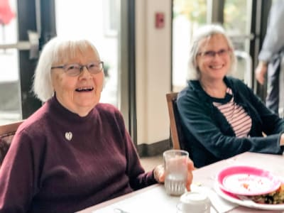 Eating at Bayberry Commons Assisted Living and Memory Care.