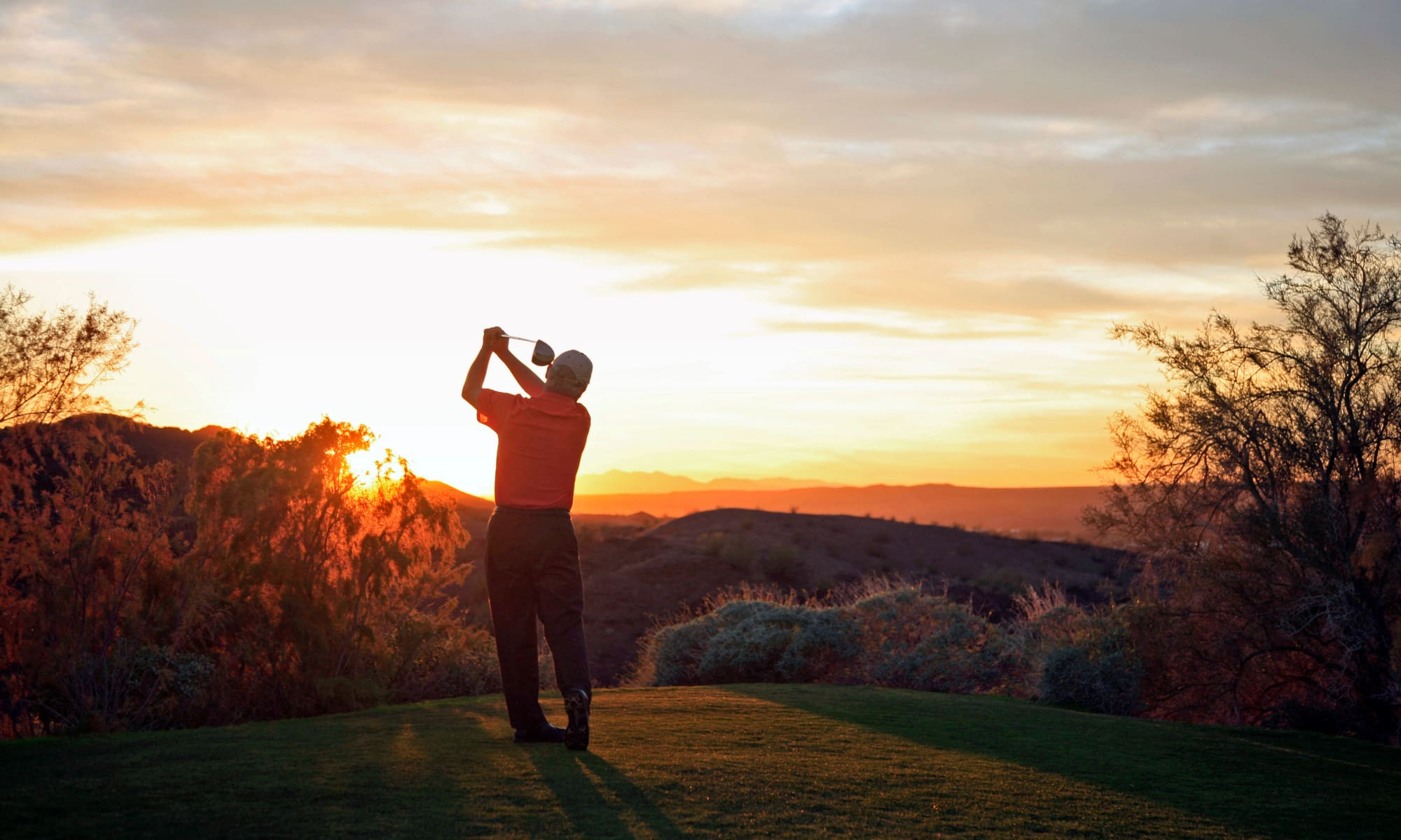 Senior man practicing golf in Chandler, Arizona