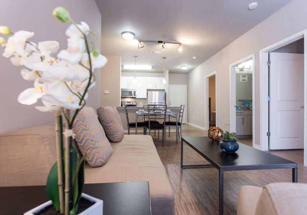 Bright, spacious living room  at Texan 26 in Austin, Texas