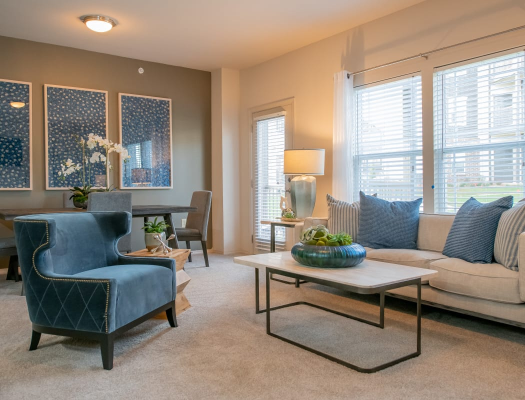 Spacious living rooms with natural light at Cedar Ridge in Tulsa, Oklahoma
