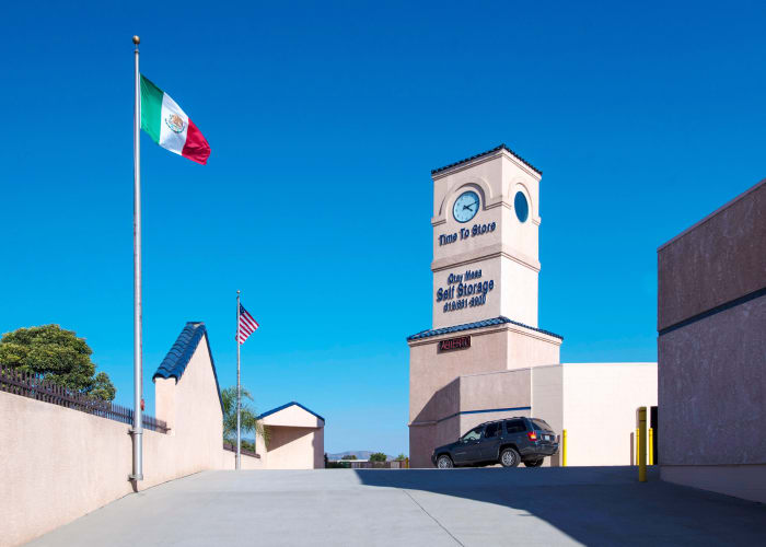 The sign at the front entrance of Otay Mesa Self Storage in San Diego, California