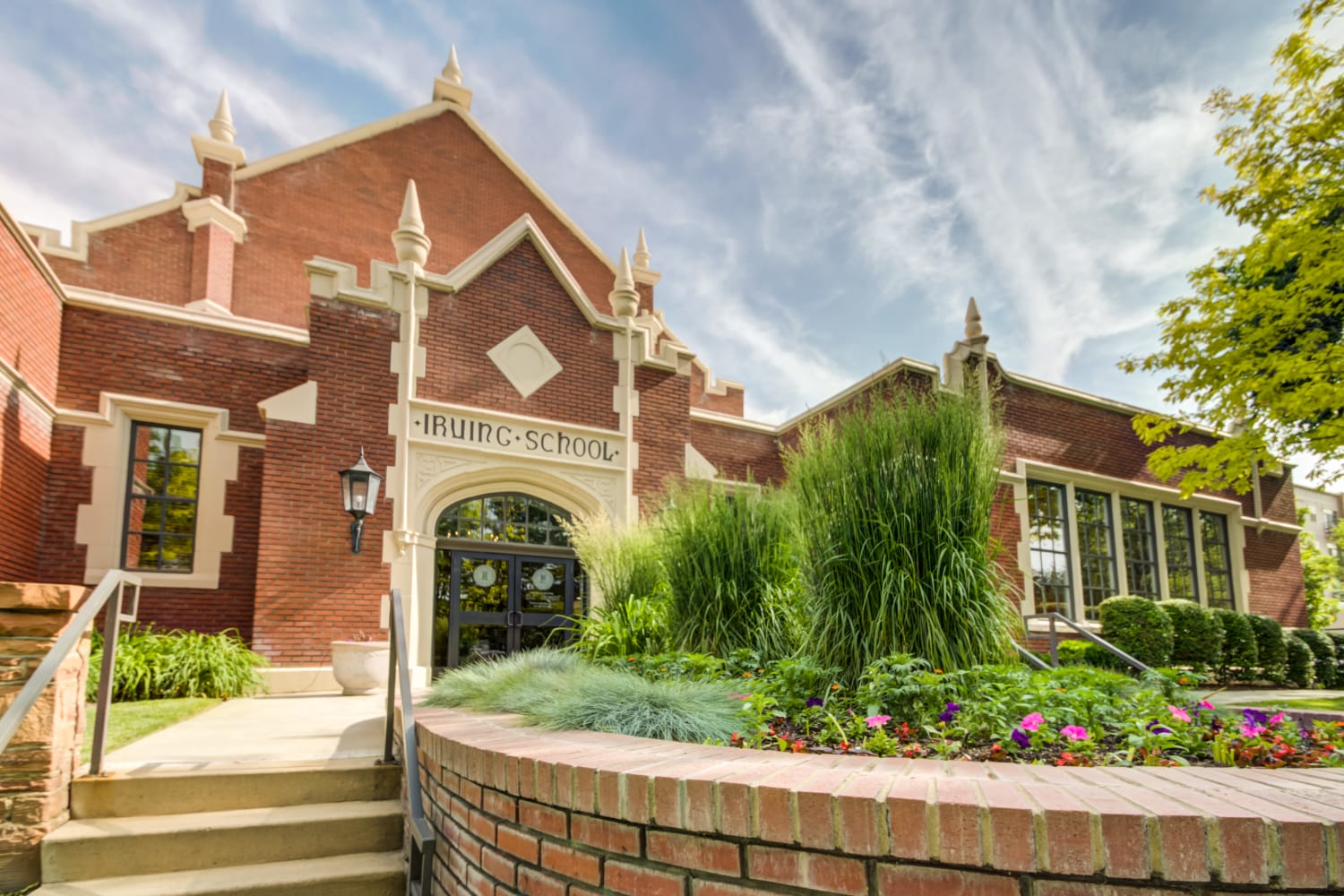 Front entrance at Irving Schoolhouse Apartments in Salt Lake City, Utah
