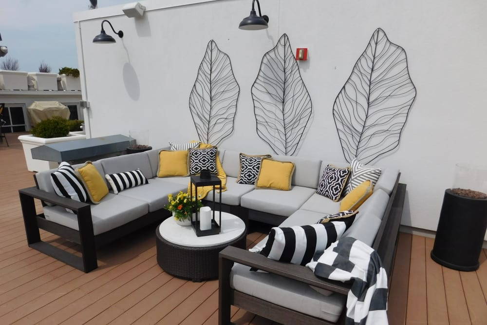 Sitting area on rooftop terrace at The Reserve at 4th and Race in Cincinnati, Ohio