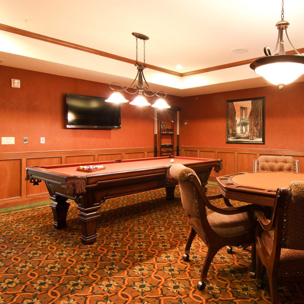 Game room at Applewood Pointe of Roseville at Langton Lake in Roseville, Minnesota.