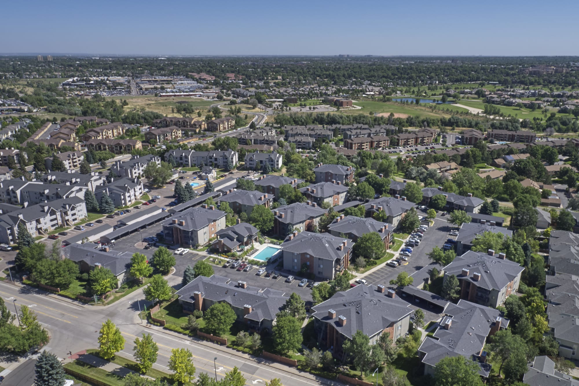An aerial view of the property and surrounding areas at Arapahoe Club Apartments in Denver, Colorado