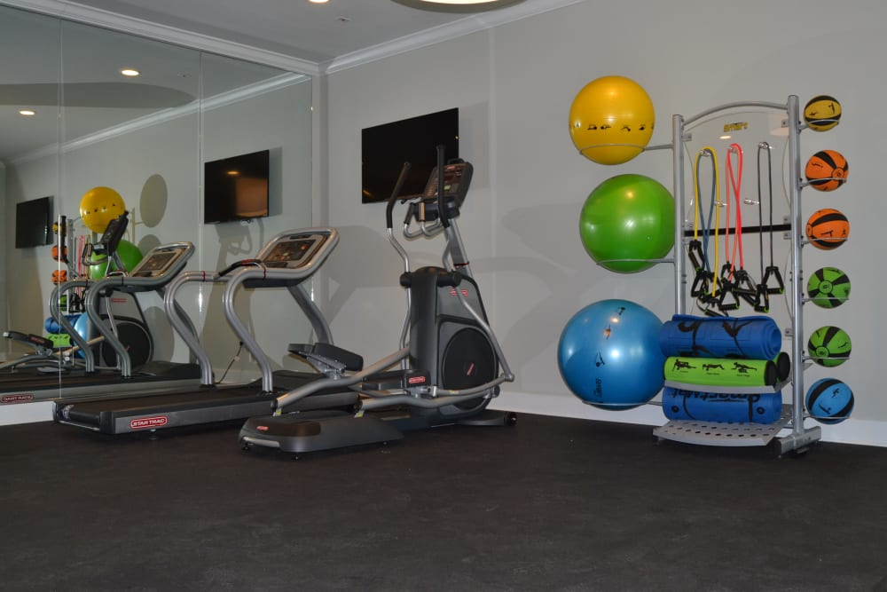 Exercise equipment at West Woods Apartments in Pensacola, Florida