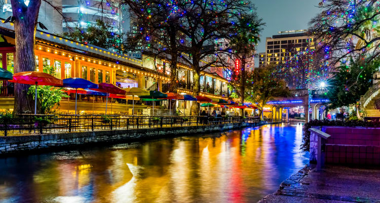 Beautiful view of downtown at night near Rosemont at Olmos Park in San Antonio, Texas