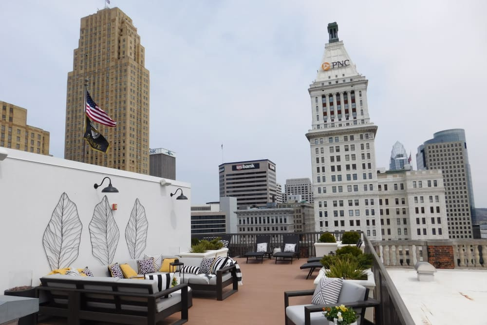 Views from the rooftop terrace at The Reserve at 4th and Race in Cincinnati, Ohio