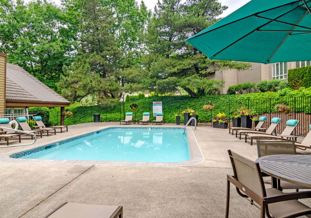 Swimming pool area with chaise lounge chairs at Sofi Lake Oswego in Lake Oswego, Oregon