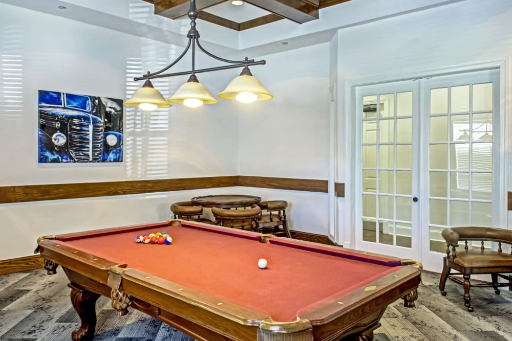Pool table at Provenza at Southwood in Tallahassee, Florida
