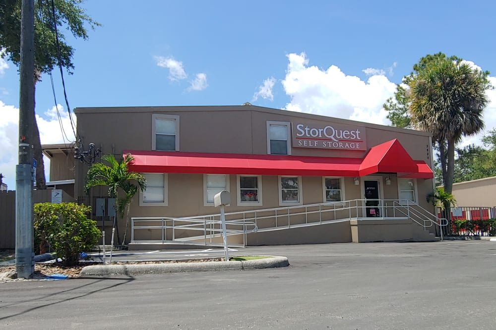 Exterior view at StorQuest Self Storage in Tampa, FL